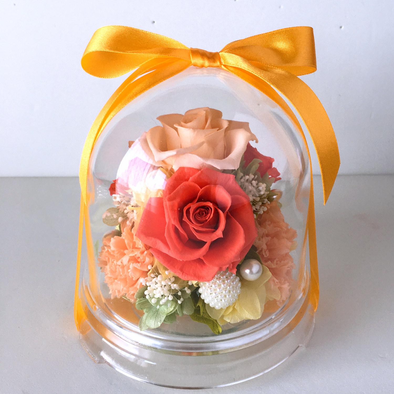 敬老の日のプリザーブドフラワー 人気1位  チャーム(オレンジ)