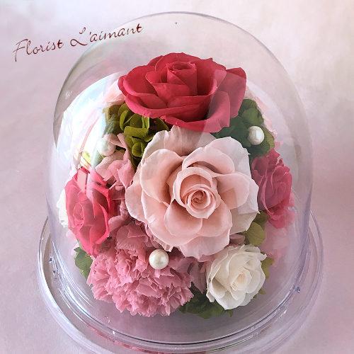 母の日のプリザーブドフラワー 人気3位 グレイス(ピンク)
