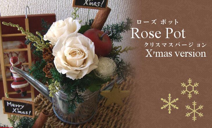 ローズポットクリスマス(ホワイト)【プリザーブドフラワー】